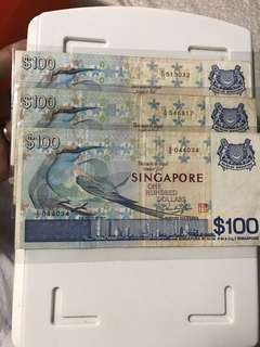 Singapore Old Bird Series 100 Dollar Note