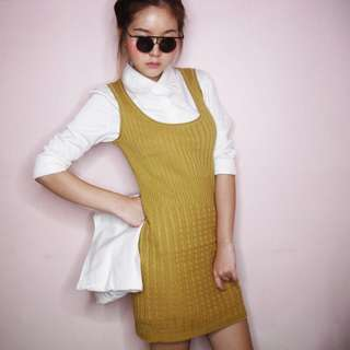 Weave Panel Knit Dress in Saffron from Hollyhoque