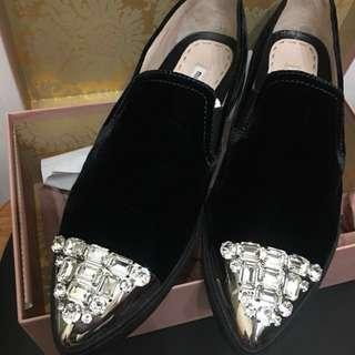 Miumiu bling bling velvet shoes
