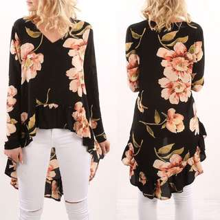 (PO) Black Floral Blouse