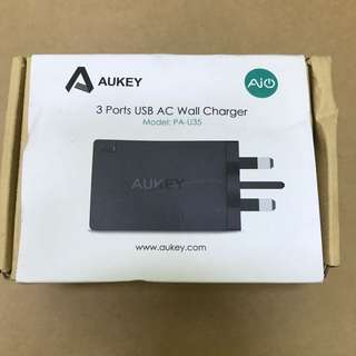 #9. AUKEY 3 Ports USB AC wall Charger