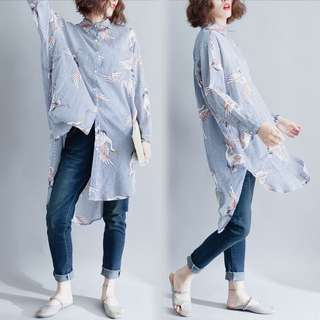 Plus Size Spring Loose Shirt Casual linen blouse