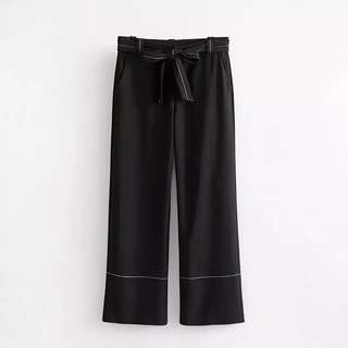 European and American style hit the wind long pants wide leg pants female high waist belt casual pants