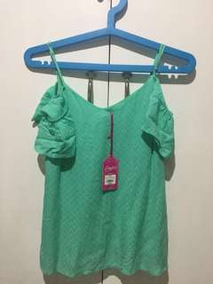 [BRAND NEW] Turquoise Off-shoulder Top