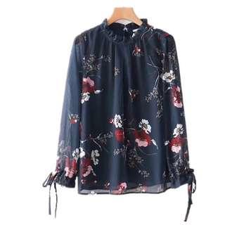European and American wind Lotus collar sleeves floral print long-sleeved shirt