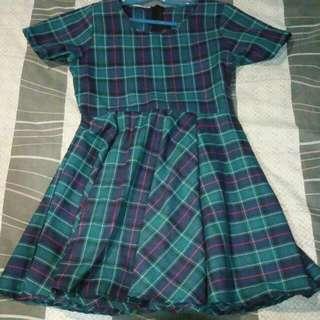 Checkered Green Dress