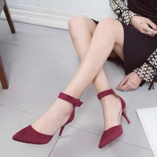 High-heeled shoes 2018 spring new Korean wild pointed side empty sandals shoes Shallow mouth with sexy shoes