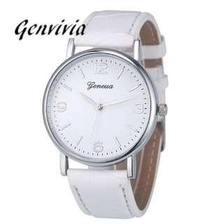 GENVIVIA Luxury Brand Business women watch 2017 Fashion Leather Analog Quartz Unisex WristWatch