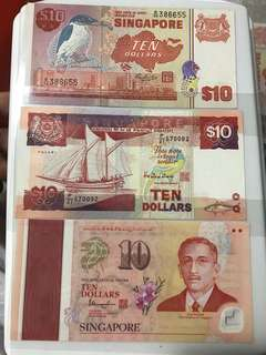 Mix 10 Dollar Singapore  Note