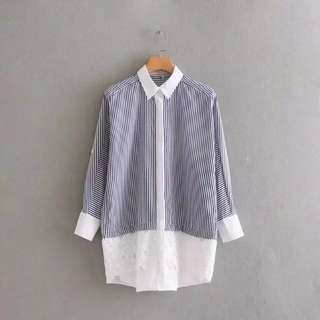 Women's 18 spring and summer new color stripe printing hem flower lace stitching shirt-style dress