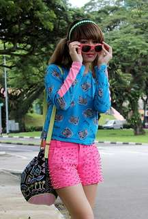 Tape unique unik colorful neon blue pink top long sleeve