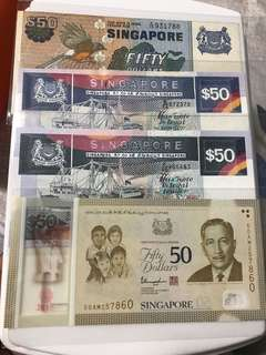 Singapore Mix 50 Dollar Notes