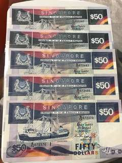 Singapore ship Series 50 Dollar dark and light Notes