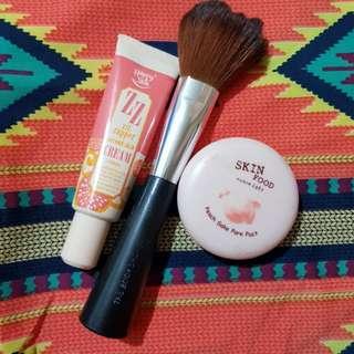 BUNDLE: Happy Skin ZZ Cream, Skinfood Pore Pact, Body Shop Powder Brush P150