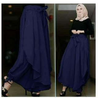 Celana Panjang Wanita FS0145 - NAVY / Kulot Rok Muslim Aladin / Bawahan Muslimah / Tztalita