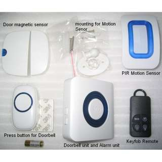 SSG Smart Alarm . Motion Sensor . Door sensor . Wireless Doorbell