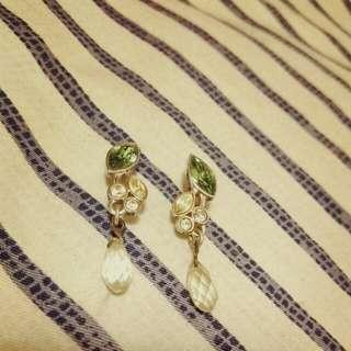 Swarovski 綠葉水晶耳環