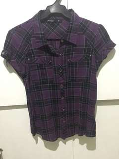 PENSHOPPE Purple Plaid Polo Shirt (Small)
