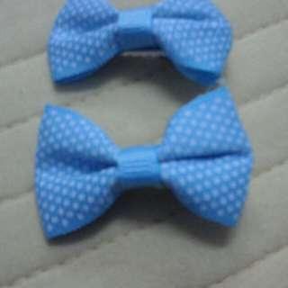 Girls Hair Clip - Blue Polkadot