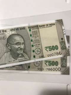 Nice no 786000  - 000786. Indian new 500 Dollar Note Unc