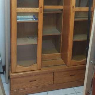 超大實木雙層書櫃