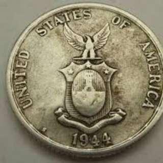 1944S 50 CENTAVOS SILVER COIN