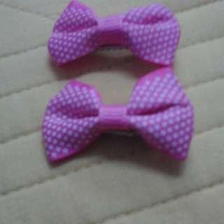 Girls Hair Clip - Pink Polkadot