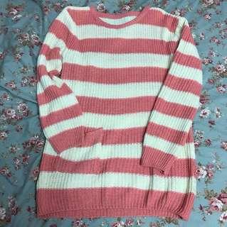 🚚 大降價🎉全新現貨 粉色條紋針織上衣