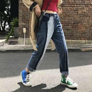 VM 春夏新款 百搭多色牛仔接拼設計 寬鬆小腳 高腰顯瘦九分牛仔褲