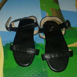 Black Strappy Leather Sandals