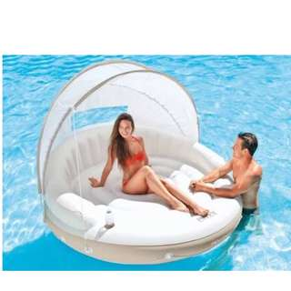 """Intex Canopy Island 78""""x59"""" Inflatable with Free Electric Car Air Pump"""