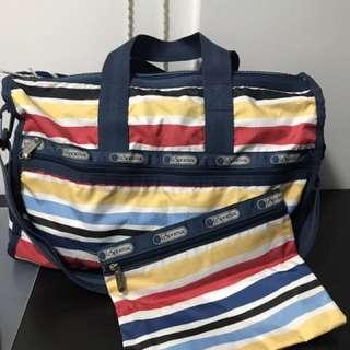 LeSportsac 橫條手挽連長帶旅行袋