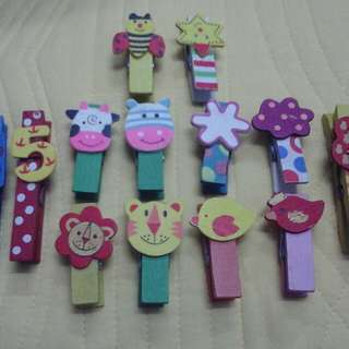 Animal & Numbers Wooden Peg 12pcs