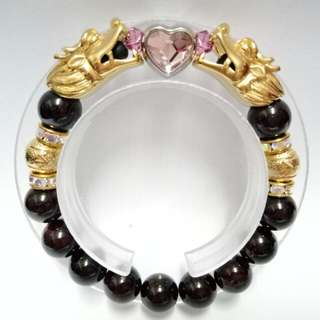 Garnet Gemstones (11mm) Bracelet with gold-plated stainless steel Dragons and Swarovski Pink Heart-shaped charm