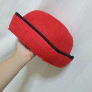 Topi round bulat Merah Red
