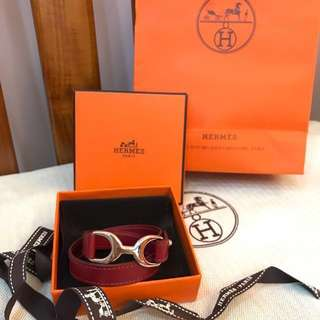 Hermes氣質酒紅色H logo皮革手環