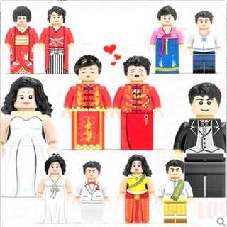 Wedding Doorgift / tablegift - lego compatible wedding couple minifigures