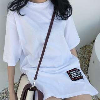 寬鬆短袖長衫/可作連身裙