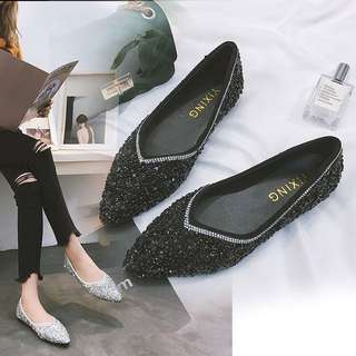 2018 spring and summer new Korean sequined diamond shallow mouth flat shoes comfortable wild lazy boat shoes