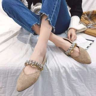 2018 spring Korean new sequined pointed shallow mouth suede flat shoes with a diamond shoes