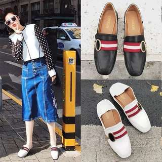 European and American metal buckle color square flat single shoes female wind lazy shoes