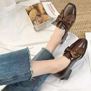 2018 spring Korean new bow flat square shoes