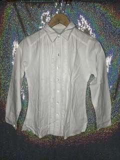 Kemeja renda white long sleeve shirt