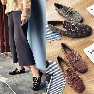 2018 Korean version of the spring wild rivets bow velvet flat shoes square retro lazy shoes