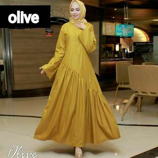 MF - 0218 - Dress Busana Muslim Olive Maxi