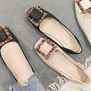 (35~40) European station spring color rhinestone buckle casual square flat single shoes women Korean soft end lazy shoes peas shoes