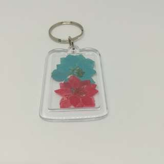 Real blue & red Flower keychain