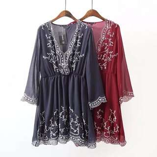 European and American women's fashion V-neck embroidery temperament dress