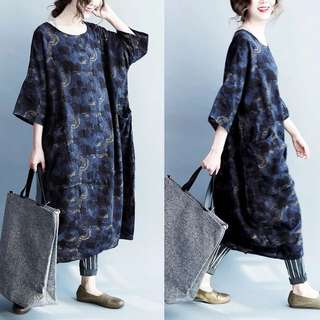 Plus Size 2018 loose long sleeve cotton five-point sleeves retro printing dress