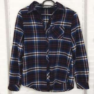 new look red and blue plaid flannel collar shirt